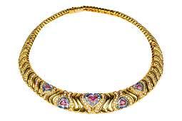 MARINA B STYLE 18 KARAT YELLOW GOLD, SAPPHIRE & DIAMOND