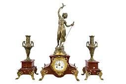 THREE PIECE ROUGE MARBLE CLOCK GARNITURE SET