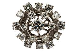 14 KARAT WHITE GOLD & DIAMOND CLUSTER RING