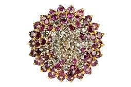 14 KARAT YELLOW GOLD, DIAMOND, & RUBY CLUSTER RING