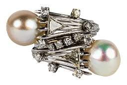 14 KARAT WHITE GOLD, DIAMOND, & PEARL RING