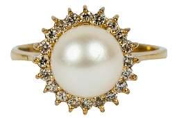 14 KARAT YELLOW GOLD, DIAMOND, & PEARL RING