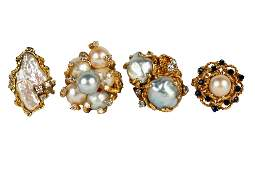 GROUP OF FOUR 14 KARAT YELLOW GOLD  PEARL RINGS