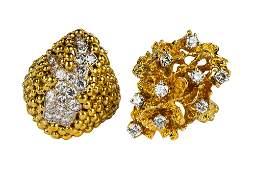 TWO 18 KARAT YELLOW GOLD & DIAMOND RINGS