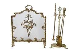 FRENCH BRASS FIRE SCREEN WITH TOOLS