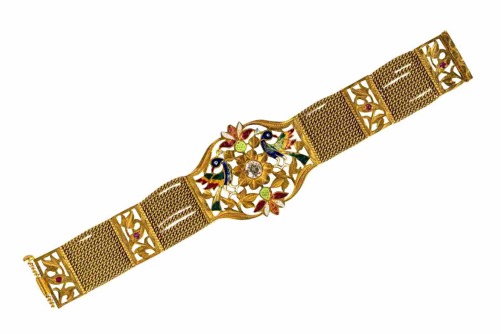 18 KARAT GOLD, ENAMEL, & DIAMOND SIMULANT BRACELET
