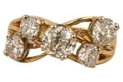 14 KARAT YELLOW GOLD  DIAMOND FREEFORM RING