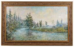 "WILLARD AYER NASH (1898-1943) : ""LAKE SCENE"""