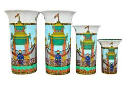 SET OF FOUR  VERSACE FOR ROSENTHAL PORCELAIN VASES