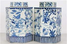 PAIR OF CHINESE BLUE  WHITE PORCELAIN TEA CADDIES