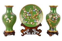 THREE CHINESE GREEN CLOISONNE ENAMEL PIECES