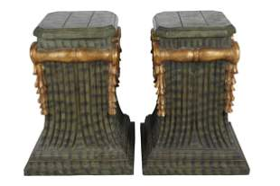 PAIR OF GILT & GREEN-PAINTED WOOD PEDESTALS