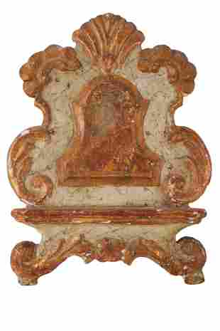 ROCOCO CARVED, PAINTED & GILT WOOD STAND
