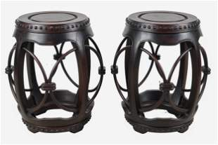 PAIR OF CHINESE HARDWOOD DRUM-FORM STOOLS