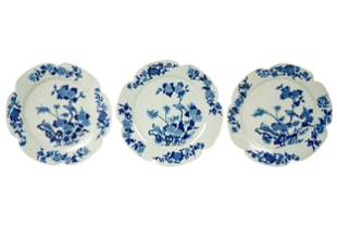 THREE CHINESE BLUE & WHITE PORCELAIN PLATES