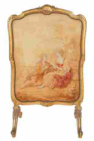 FRENCH GILTWOOD & TAPESTRY FIRE SCREEN