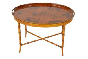 ENGLISH PAINTED TOLE TRAY ON STAND