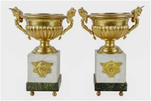 PAIR OF FRENCH EMPIRE STYLE DORE BRONZE URNS ON MARBLE