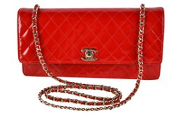 CHANEL RED PATENT LEATHER FLAP BAG