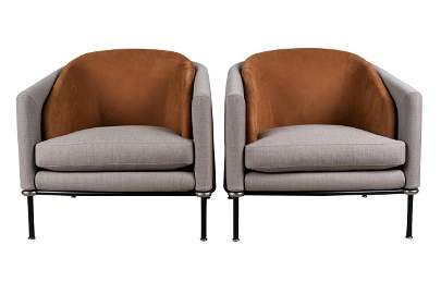 PAIR OF MINOTTI 'FIL NOIR' ARM CHAIRS