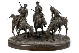 RUSSIAN FIGURAL BRONZE GROUP