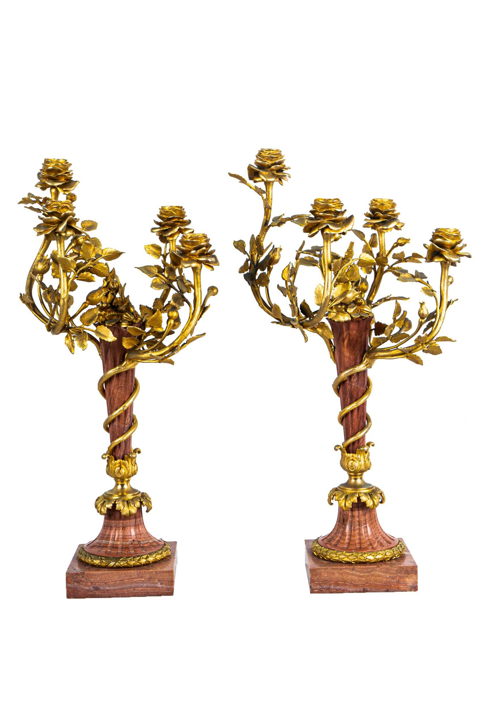 PAIR OF ROUGE MARBLE & GILT BRONZE CANDELABRA