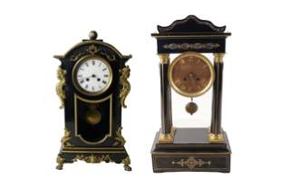 TWO FRENCH EMPIRE STYLE MANTLE CLOCKS