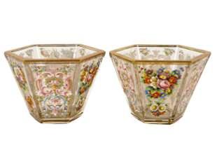 PAIR OF BOHEMIAN GLASS & ENAMEL VASES