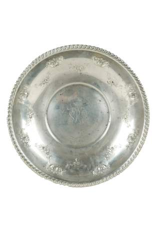 ROUND STERLING REPOUSSE TRAY