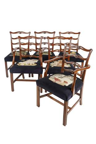 EIGHT CHIPPENDALE STYLE RIBBON-BACK DINING CHAIRS