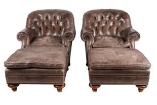 PAIR OF BAKER LEATHER CLUB CHAIRS & OTTOMANS