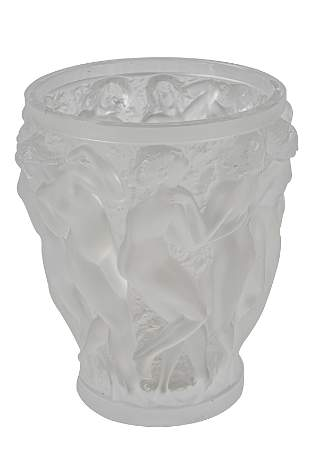 LALIQUE MOLDED & FROSTED GLASS VASE