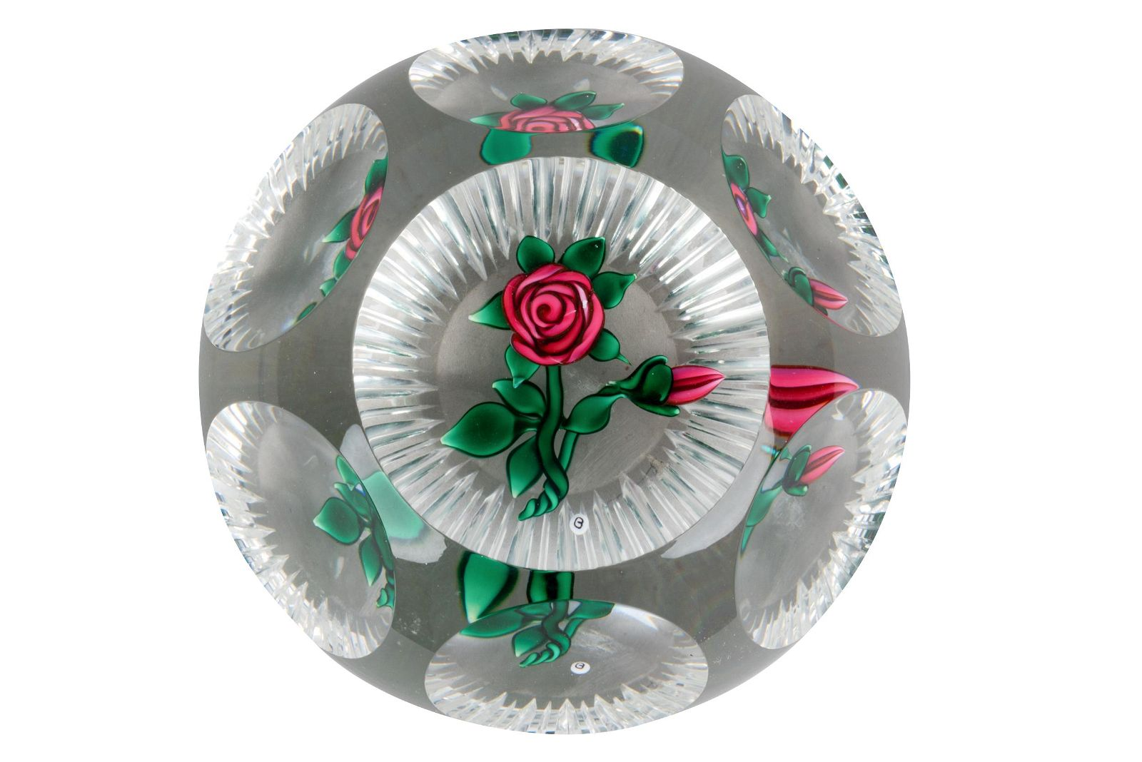 """RAY BANFORD FACETED """"ROSE"""" PAPERWEIGHT"""