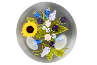 ANDREW BYERS FLORAL ART GLASS PAPERWEIGHT