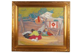 "ELSIE PALMER PAYNE (1884 - 1971): ""SUMMER HOGAN NAVAJO"""