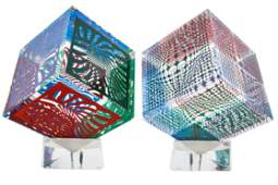 VICTOR VASARELY (1906 - 1997): TWO ACRYLIC CUBE