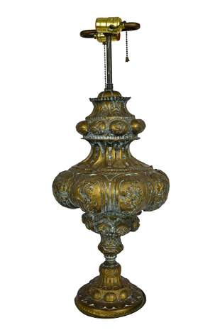 SPANISH HAMMERED METAL TABLE LAMP