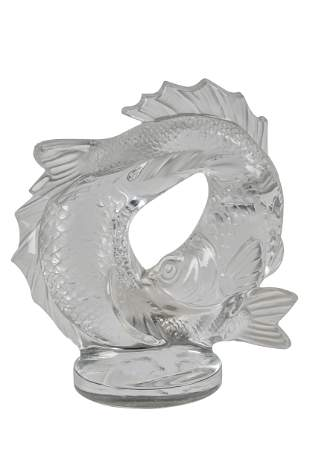 LALIQUE MOLDED GLASS FISH GROUP
