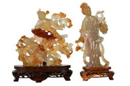TWO CHINESE CARVED STONE FIGURES