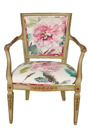 SCHUMACHER LOUIS XVI STYLE PAINTED WOOD ARMCHAIR