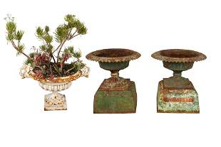 THREE FRENCH PAINTED IRON PLANTERS