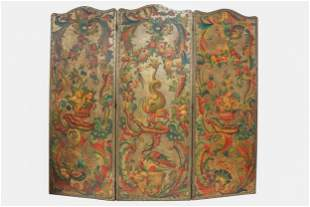 THREE-PANEL PAINTED LEATHER SCREEN