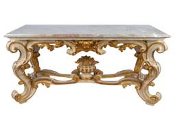 PAINTED & GILT ITALIAN BAROQUE STYLE CENTER TABLE