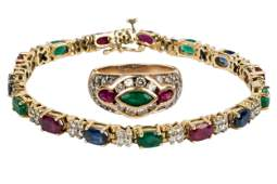 SUITE OF 14 KARAT YELLOW GOLD, DIAMOND, & MULTI-GEM