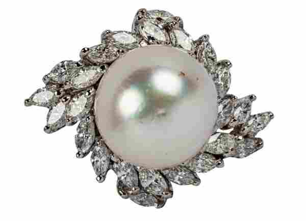 14 KARAT WHITE GOLD, DIAMOND, & PEARL CLUSTER RING