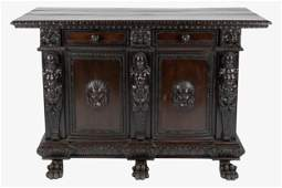 RENAISSANCE REVIVAL STYLE CARVED WOOD CREDENZA