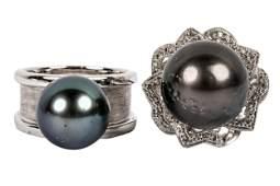 TWO 18 KARAT WHITE GOLD, DIAMOND, & BLACK PEARL RINGS