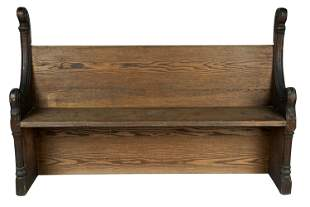 CONTINENTAL GOTHIC STYLE CARVED OAK CHURCH PEW