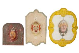 THREE PAINTED CLOWN PLAQUES