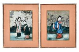 PAIR OF CHINESE REVERSE-PAINTED GLASS SCENES